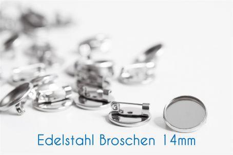 Edelstahl Broschen für 14mm-Cabochons silber (ab 0,78€/Stk)