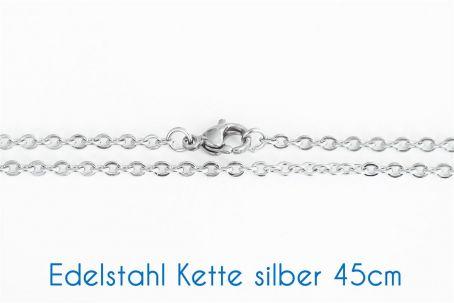 Fertige Edelstahl Kette silber 45cm Ø 2.5x3x0.2mm