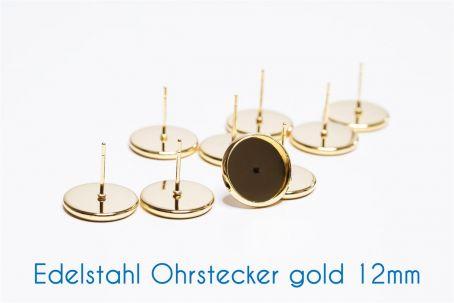Edelstahl Ohrstecker für 12mm-Cabochons gold (ab 0,70€/Stk)