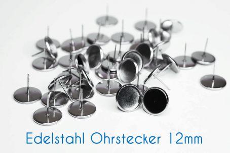 Edelstahl Ohrstecker für 12mm-Cabochons silber (ab 0,32€/Stk)